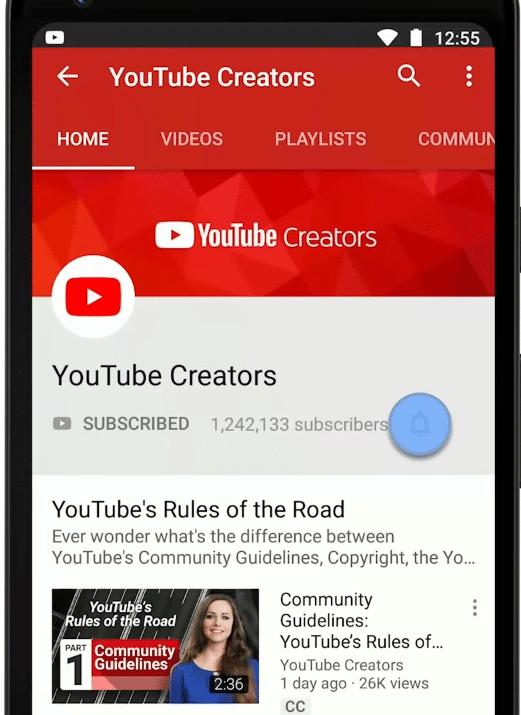 Ativando notificação push do YouTube