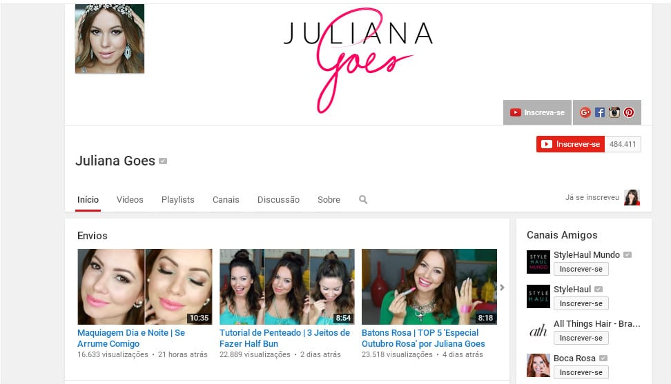 Canal Youtube - Juliana Goes