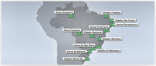 Copa do Mundo 2014 - Os 12 estádios
