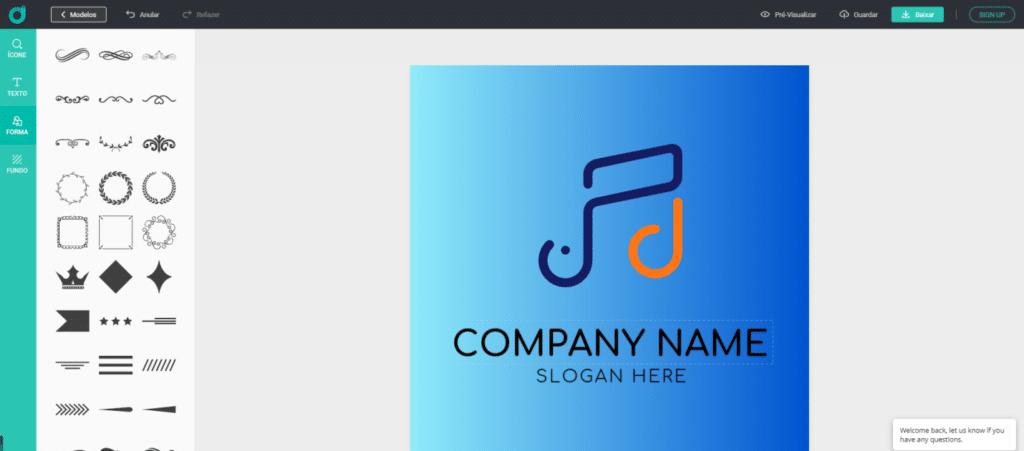 Adicionar um formato ao logotipo
