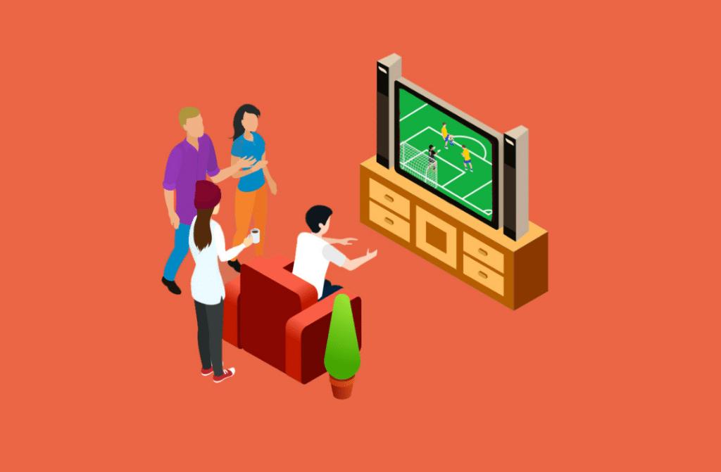 Assistindo jogo de futebol