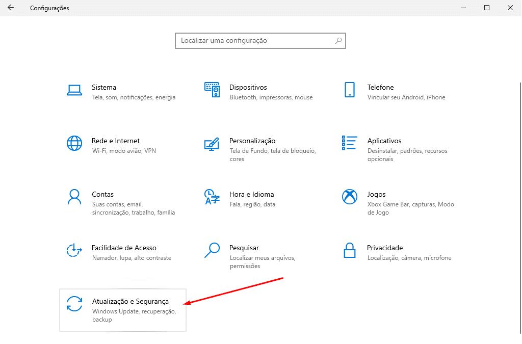 Atualizações e Segurança do Windows