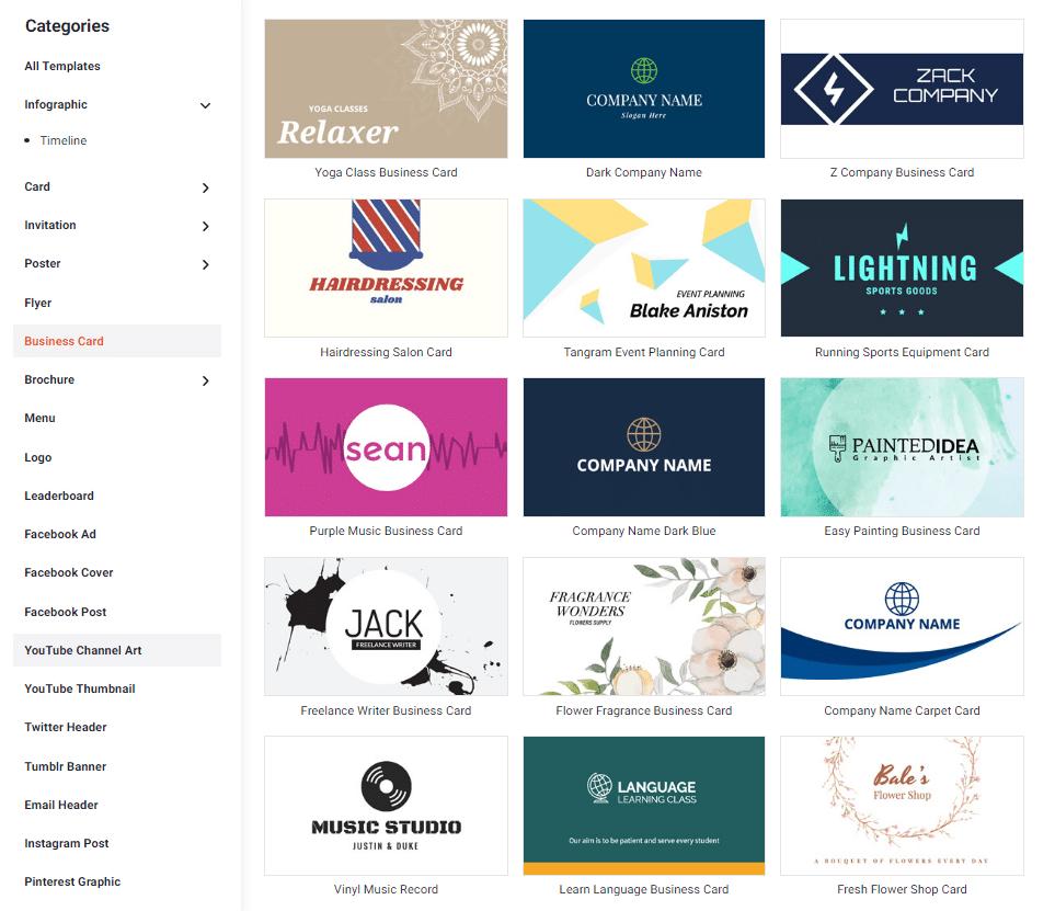 Business card do DesignCap