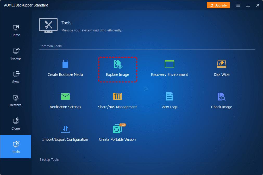 Explore Image no AOMEI Backupper Standard