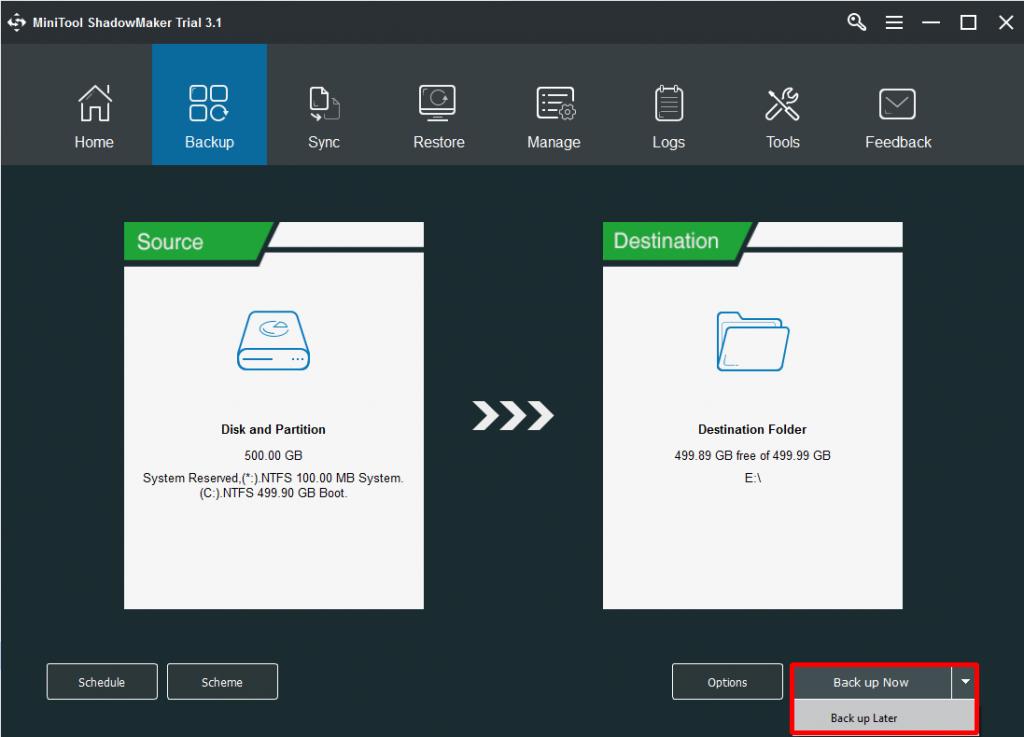 Como fazer backup do sistema operacional usando o MiniTool ShadowMaker?