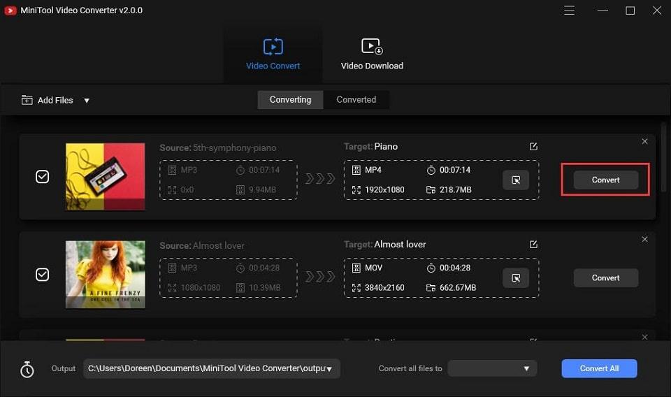 Converta arquivos para diferentes formatos com o MiniTool Video Converter