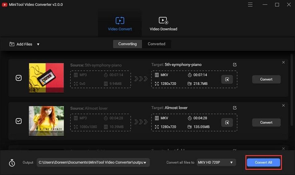 Converta lote de vários arquivos no mesmo formato com o MiniTool Video Converter