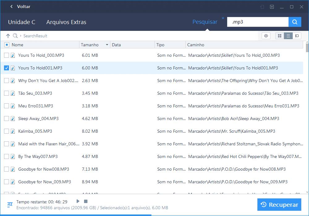 EaseUS Data Recovery Wizard - selecionar arquivo para recuperar