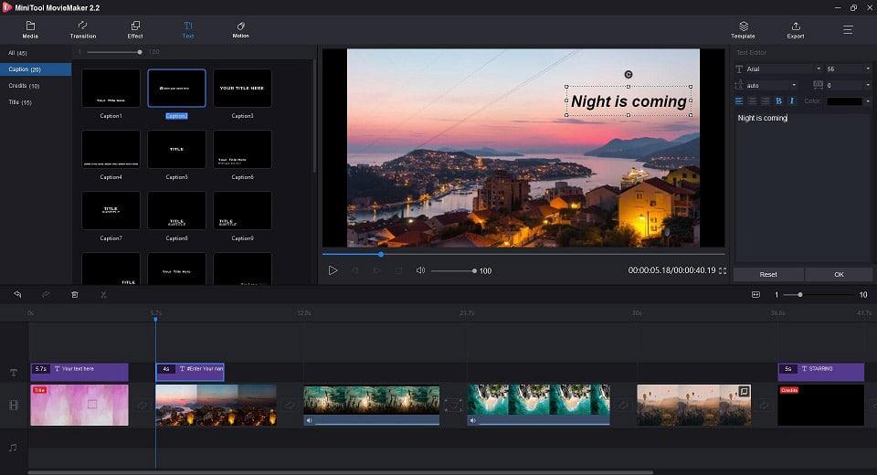 Editar o arquivo na linha do tempo com o MiniTool MovieMaker
