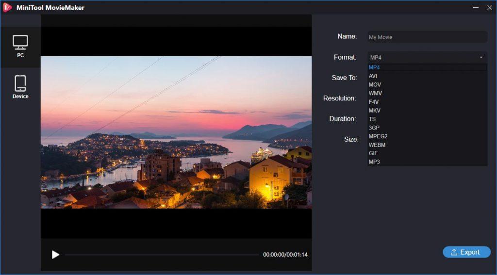 Exportar o vídeo com o MiniTool MovieMaker