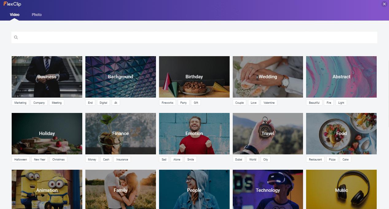 FlexClip - escolher vídeos stock