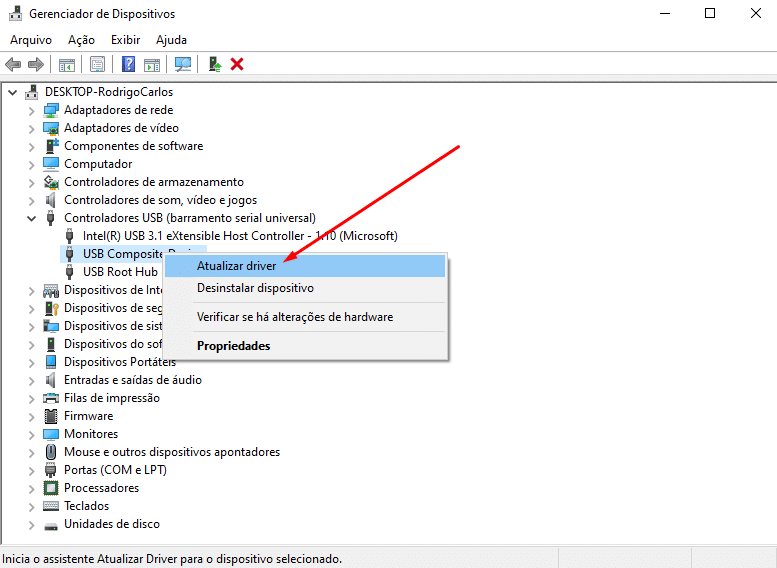 Gerenciador de Dispositivo - Atualizar driver USB