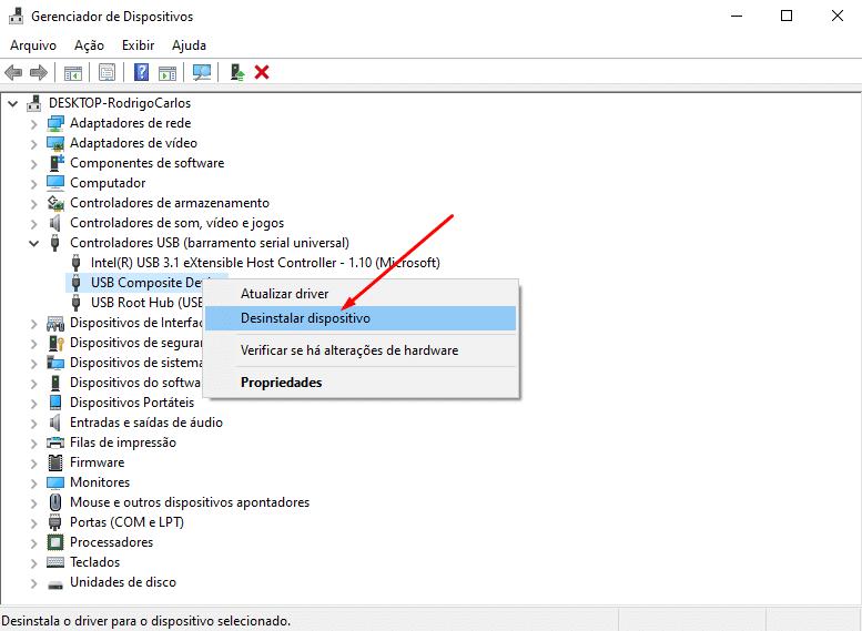 Gerenciador de Dispositivo - Desinstalar driver USB