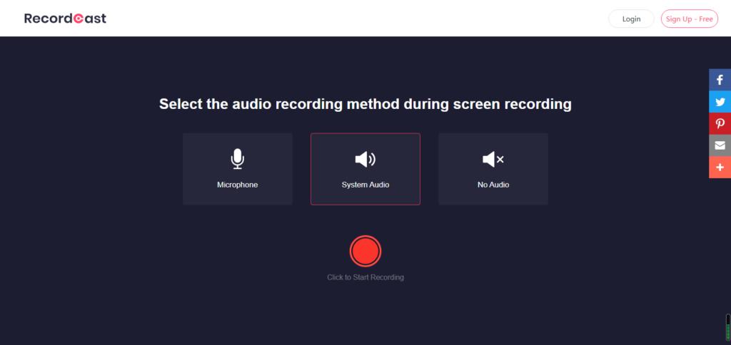 Gravar áudio com RecordCast
