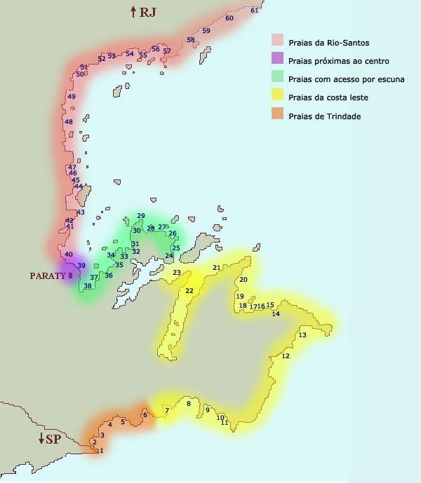 Mapa das Praias de Paraty-RJ