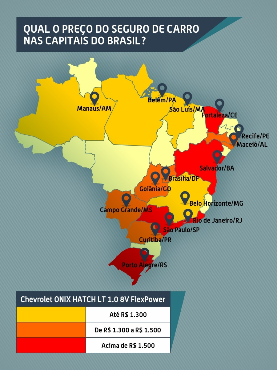 Mapa do seguro de carro nas capitais do Brasil