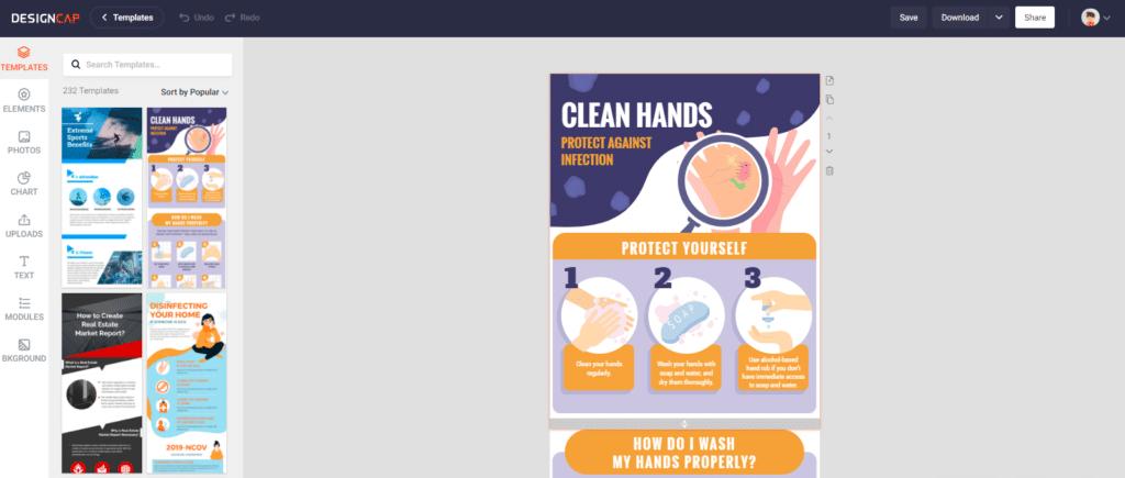 Criar infográficos online - Modelo de infográficos DesignCap