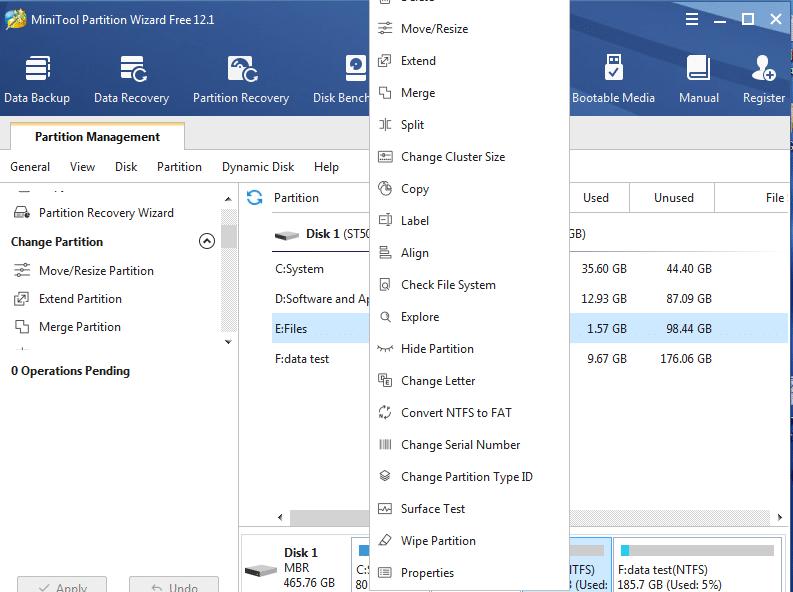 Opções para realizar no disco rígido com o MiniTool Partition Wizard