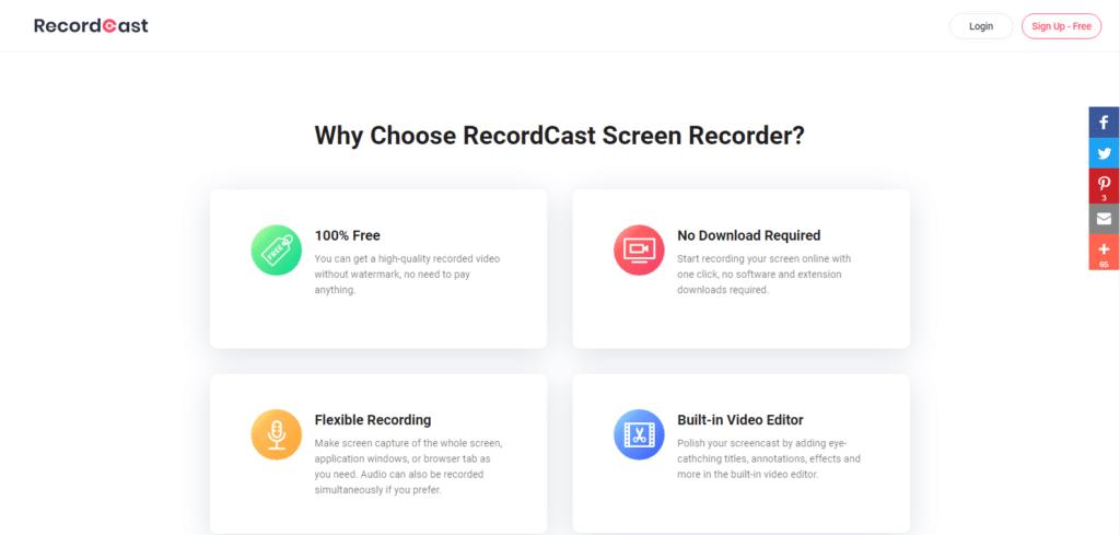 Por que escolher o gravador de tela RecordCast