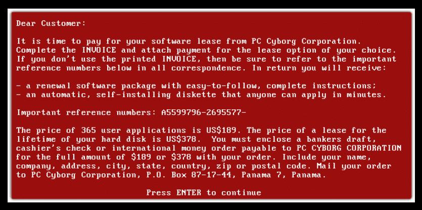Ransomware PC Cyborg Trojan - AIDS