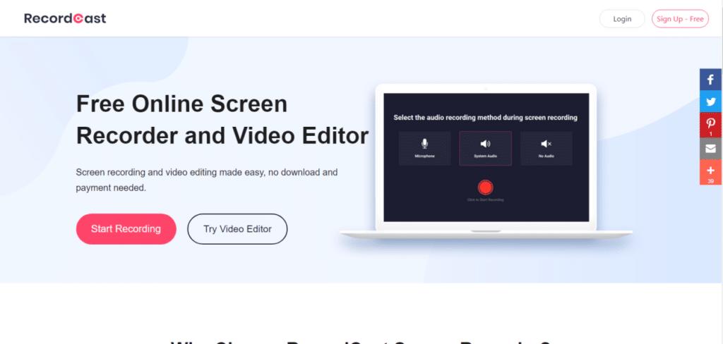 RecordCast - gravador e editor de vídeo