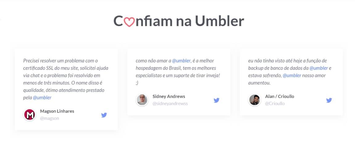 Serviço de hospedagem de site - Depoimento de clientes satisfeitos com a Umbler