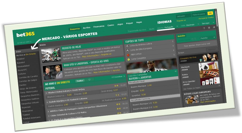 Site da Bet365 - Mercado - Vários Esportes